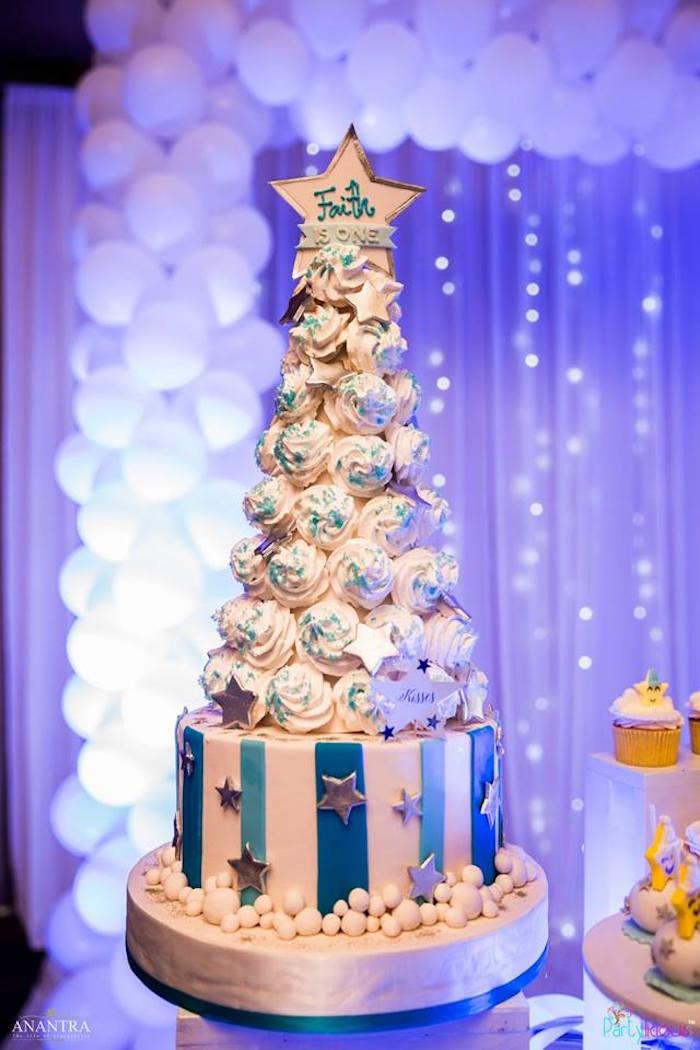 Meringue Kiss tower cake from a Stars and Moon Birthday Party on Kara's Party Ideas | KarasPartyIdeas.com (31)