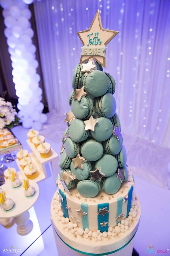 Macaron tower from a Stars and Moon Birthday Party on Kara's Party Ideas | KarasPartyIdeas.com (8)