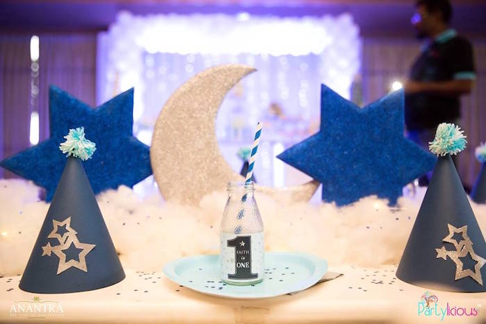 Place setting from a Stars and Moon Birthday Party on Kara's Party Ideas | KarasPartyIdeas.com (7)
