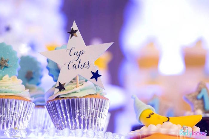 Cup cakes from a Stars and Moon Birthday Party on Kara's Party Ideas | KarasPartyIdeas.com (27)