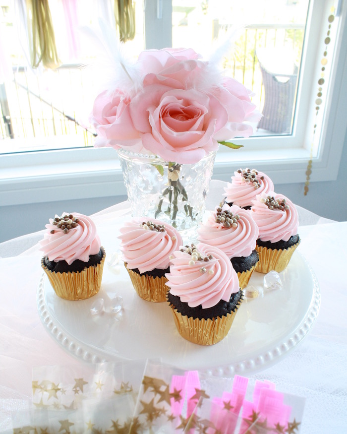 Pink cupcakes with gold foil wrappers from a Swan Princess 1st Birthday Party on Kara's Party Ideas | KarasPartyIdeas.com (14)