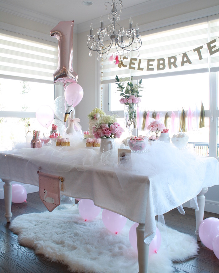 Swan sweet table from a Swan Princess 1st Birthday Party on Kara's Party Ideas | KarasPartyIdeas.com (10)
