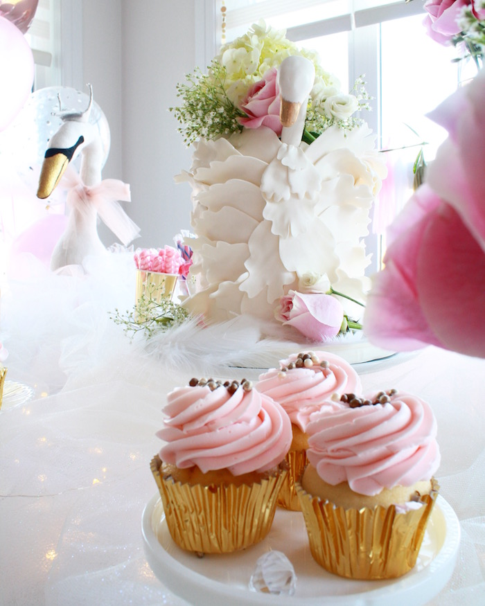 Cupcakes from a Swan Princess 1st Birthday Party on Kara's Party Ideas | KarasPartyIdeas.com (24)