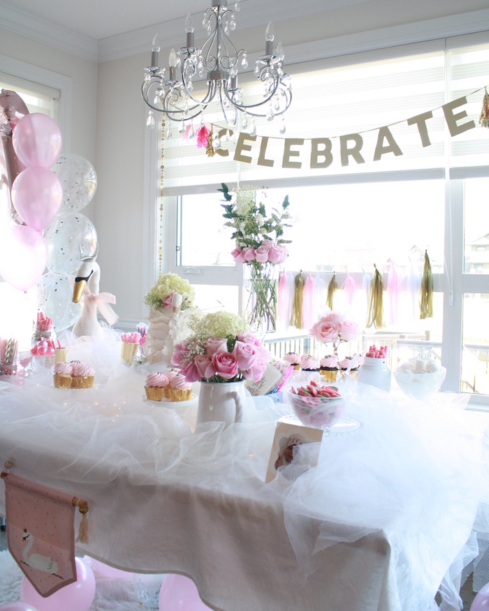 Sweet spread from a Swan Princess 1st Birthday Party on Kara's Party Ideas | KarasPartyIdeas.com (20)