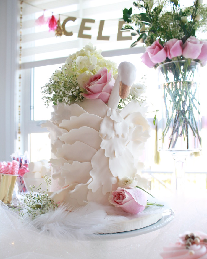 Swan ruffle cake from a Swan Princess 1st Birthday Party on Kara's Party Ideas | KarasPartyIdeas.com (18)