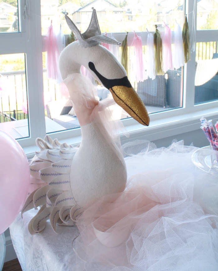 Plush swan decoration from a Swan Princess 1st Birthday Party on Kara's Party Ideas | KarasPartyIdeas.com (17)