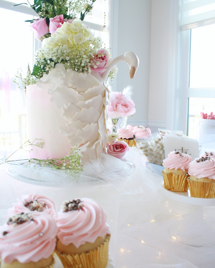 Cake and cupcakes from a Swan Princess 1st Birthday Party on Kara's Party Ideas | KarasPartyIdeas.com (16)
