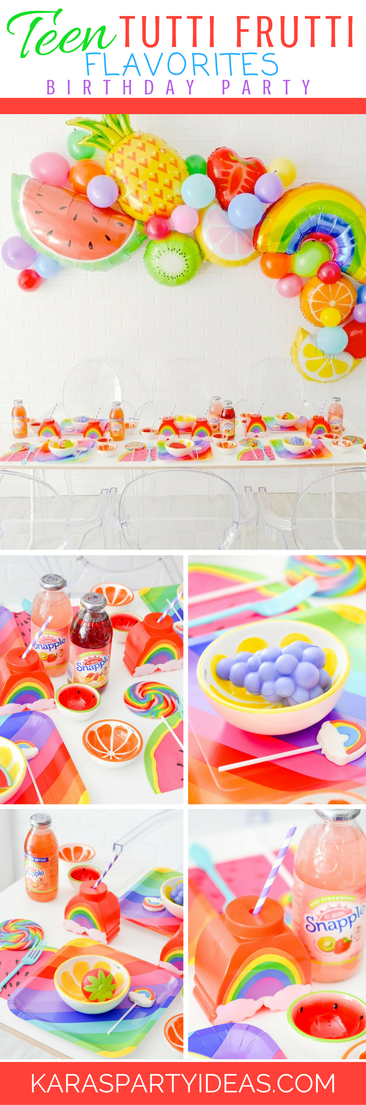 Teen Tutti Frutti Flavorites Rainbow Birthday Party via Kara's Party Ideas - KarasPartyIdeas.com
