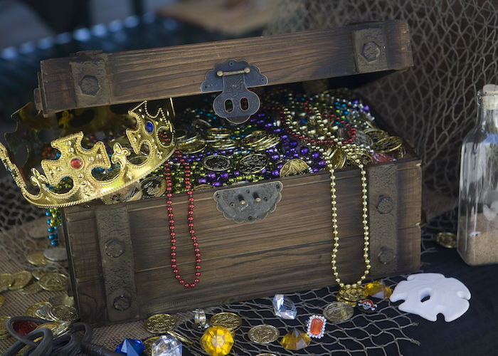 Treasure Chest from a Misty Cove Pirate Birthday Party via Kara's Party Ideas | KarasPartyIdeas.com
