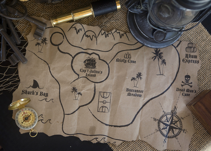 Treasure Map from a Misty Cove Pirate Birthday Party via Kara's Party Ideas | KarasPartyIdeas.com