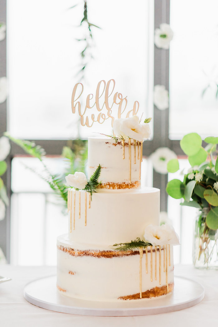 Semi Naked Drip Cake From A Tuscan Inspired Lemon Baby Shower On Karau0027s  Party Ideas