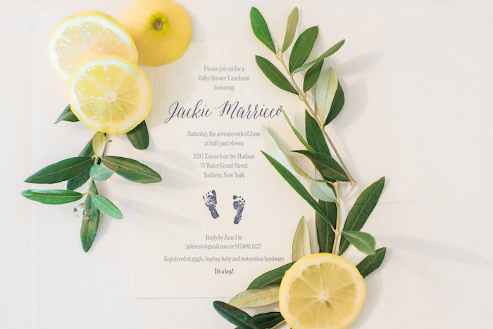Party Invite from a Tuscan Inspired Lemon Baby Shower on Kara's Party Ideas | KarasPartyIdeas.com (14)