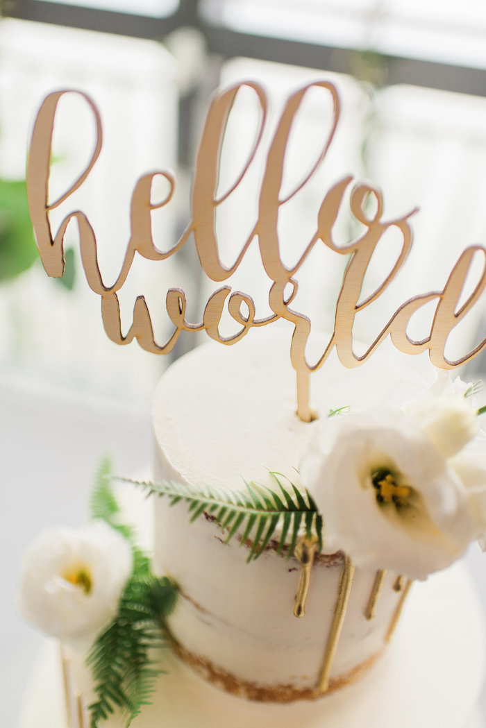 Hello World Cake Topper from a Tuscan Inspired Lemon Baby Shower on Kara's Party Ideas | KarasPartyIdeas.com (12)