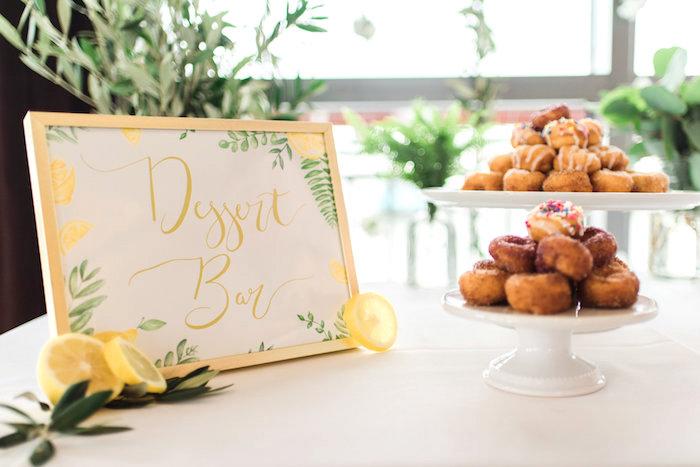 Dessert bar from a Tuscan Inspired Lemon Baby Shower on Kara's Party Ideas | KarasPartyIdeas.com (11)