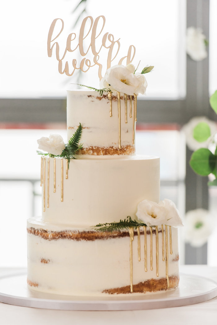 Semi-naked drip cake from a Tuscan Inspired Lemon Baby Shower on Kara's Party Ideas | KarasPartyIdeas.com (9)