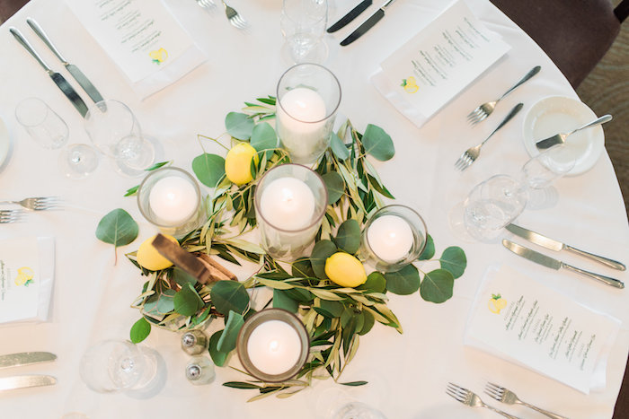Guest table centerpiece from a Tuscan Inspired Lemon Baby Shower on Kara's Party Ideas | KarasPartyIdeas.com (26)