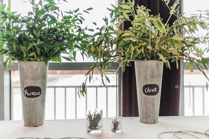 Garden centerpieces from a Tuscan Inspired Lemon Baby Shower on Kara's Party Ideas | KarasPartyIdeas.com (24)