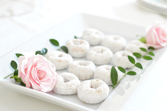 Powdered doughnuts adorned with pink roses from a Tutu Garden Birthday Party on Kara's Party Ideas | KarasPartyIdeas.com (9)