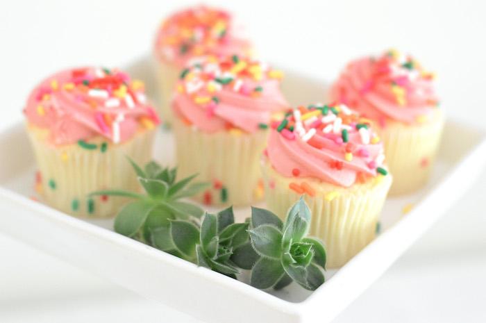 Pink-iced cupcakes from a Tutu Garden Birthday Party on Kara's Party Ideas | KarasPartyIdeas.com (8)