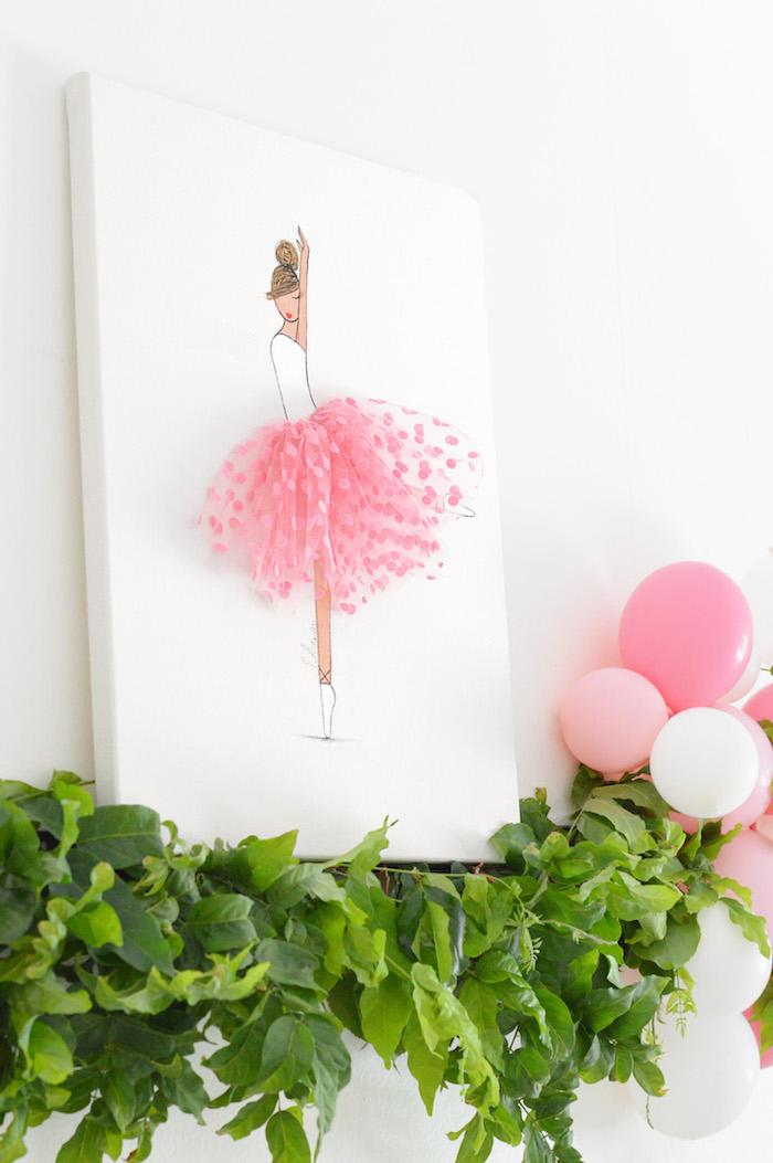 Ballerina canvas from a Tutu Garden Birthday Party on Kara's Party Ideas | KarasPartyIdeas.com (15)