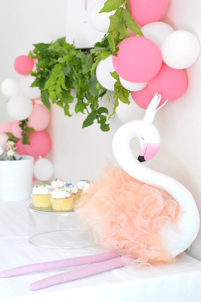 Swan centerpiece from a Tutu Garden Birthday Party on Kara's Party Ideas | KarasPartyIdeas.com (13)