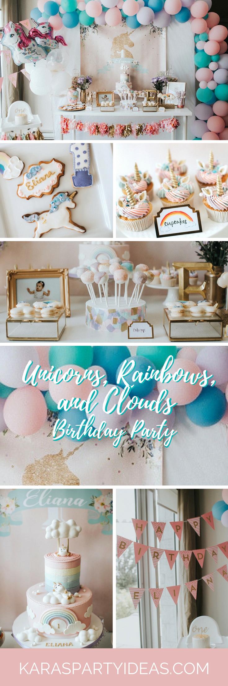 Unicorns Rainbows and Clouds Birthday Party - Karas Party Ideas via KarasPartyIdeas.com