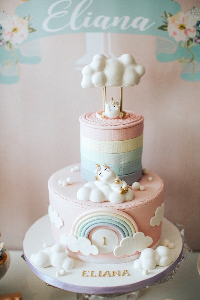 Clouds And Rainbow Cake