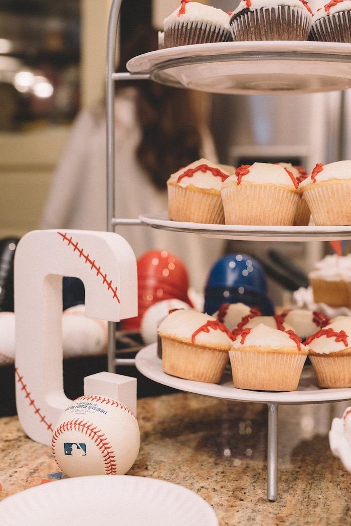Baseball cupcakes from a Vintage Baseball Birthday Party on Kara's Party Ideas | KarasPartyIdeas.com (24)