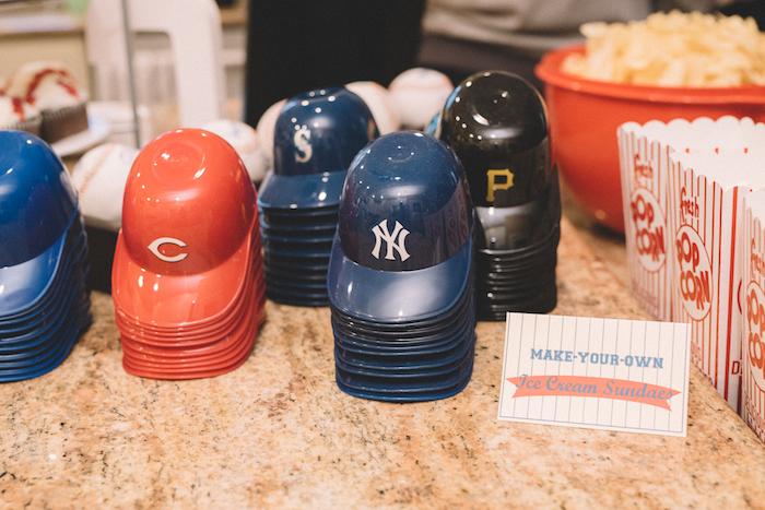 B-ball hat, ice cream bowls from a Vintage Baseball Birthday Party on Kara's Party Ideas | KarasPartyIdeas.com (23)