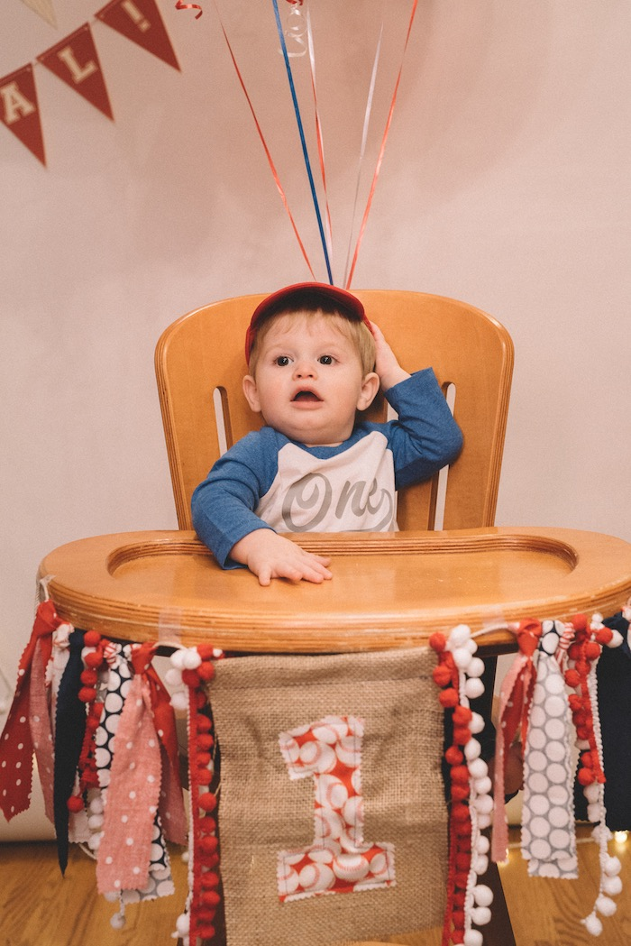 Vintage highchair banner from a Vintage Baseball Birthday Party on Kara's Party Ideas | KarasPartyIdeas.com (18)