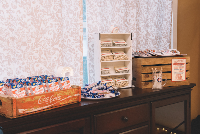 Sweet & snack bar from a Vintage Baseball Birthday Party on Kara's Party Ideas | KarasPartyIdeas.com (33)