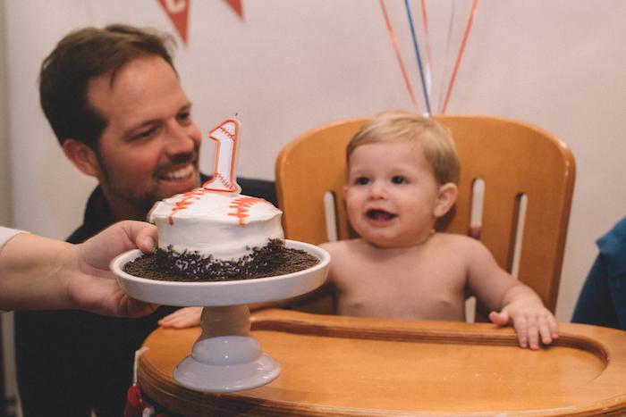 Smash cake from a Vintage Baseball Birthday Party on Kara's Party Ideas | KarasPartyIdeas.com (13)
