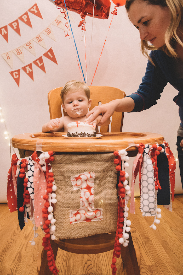 Smash cake from a Vintage Baseball Birthday Party on Kara's Party Ideas | KarasPartyIdeas.com (11)