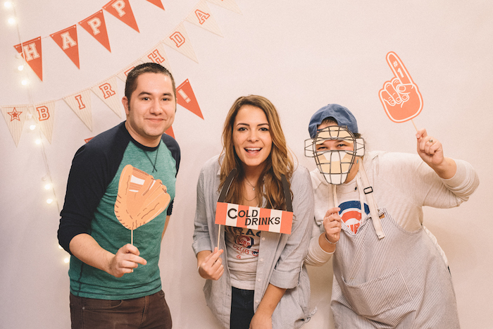 Photo booth from a Vintage Baseball Birthday Party on Kara's Party Ideas | KarasPartyIdeas.com (8)