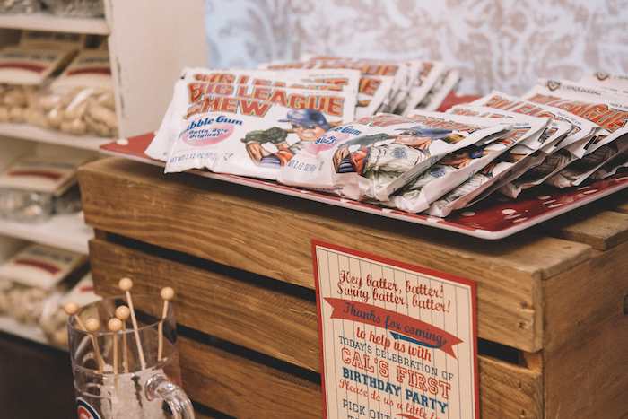 Big League Chew bubble gum from a Vintage Baseball Birthday Party on Kara's Party Ideas | KarasPartyIdeas.com (28)
