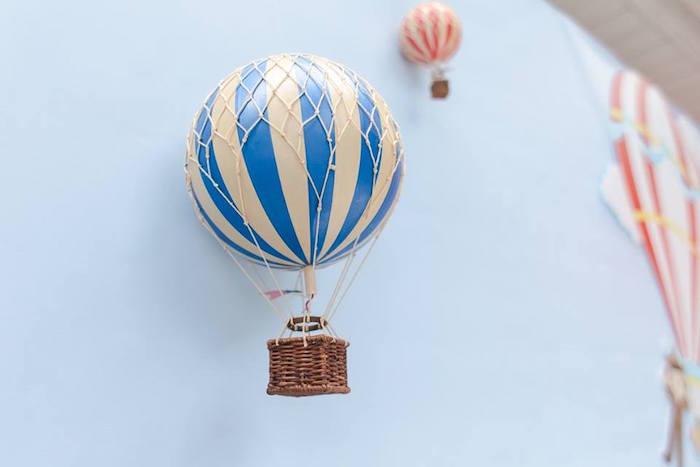 Hot air balloon backdrop from a Vintage Hot Air Balloon Birthday Party on Kara's Party Ideas | KarasPartyIdeas.com (31)