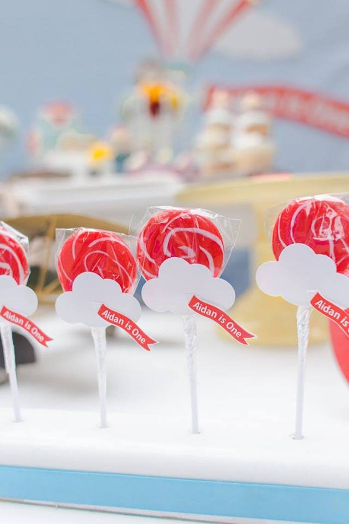 Cloud lollipops from a Vintage Hot Air Balloon Birthday Party on Kara's Party Ideas | KarasPartyIdeas.com (29)