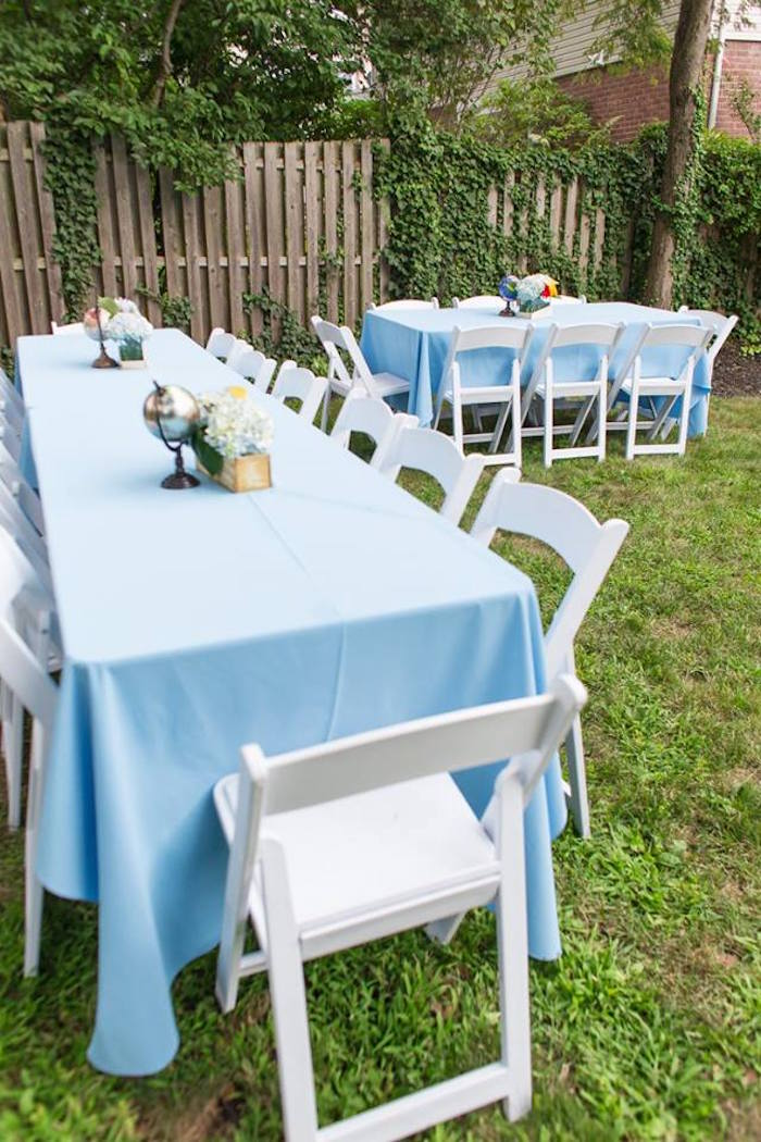 Guest tables from a Vintage Hot Air Balloon Birthday Party on Kara's Party Ideas | KarasPartyIdeas.com (28)