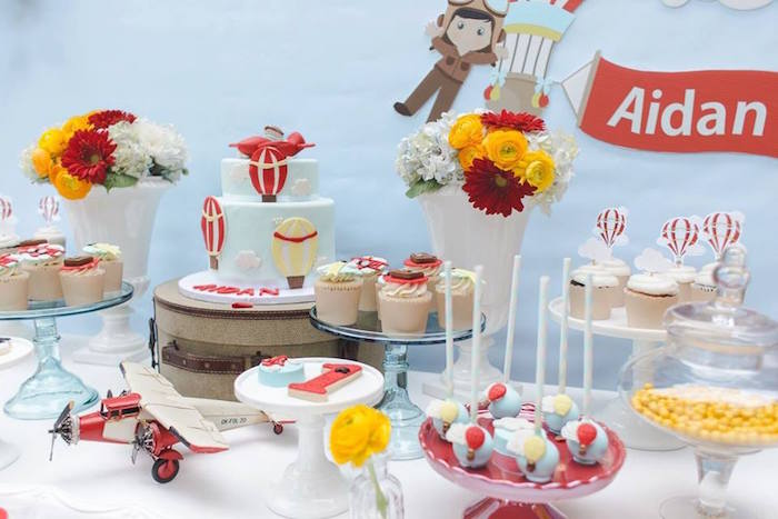 Sweet table detail from a Vintage Hot Air Balloon Birthday Party on Kara's Party Ideas | KarasPartyIdeas.com (26)