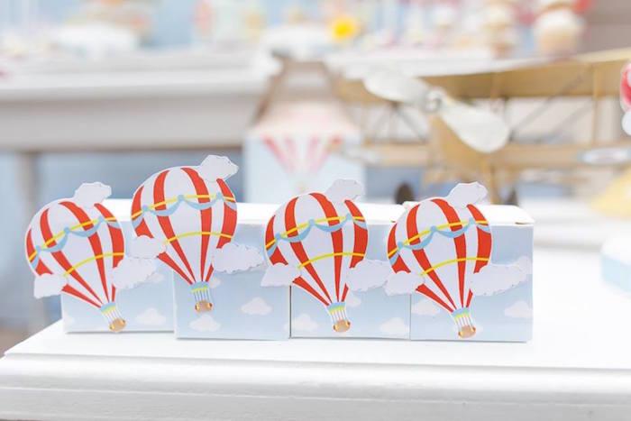 Hot air balloon boxes from a Vintage Hot Air Balloon Birthday Party on Kara's Party Ideas | KarasPartyIdeas.com (23)
