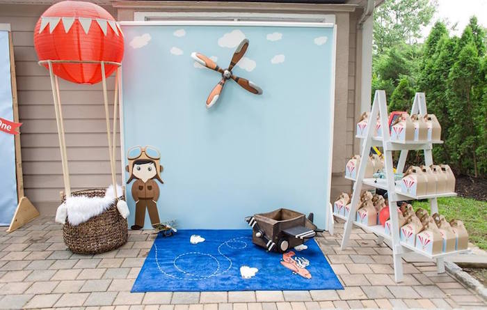 Photo booth from a Vintage Hot Air Balloon Birthday Party on Kara's Party Ideas | KarasPartyIdeas.com (18)