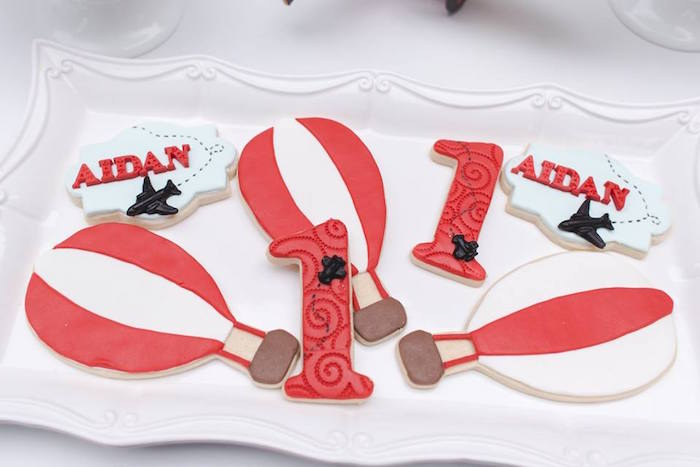 Cookies from a Vintage Hot Air Balloon Birthday Party on Kara's Party Ideas | KarasPartyIdeas.com (16)