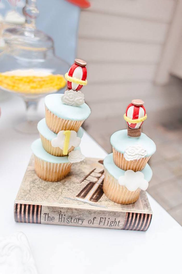 Stacked cupcakes from a Vintage Hot Air Balloon Birthday Party on Kara's Party Ideas | KarasPartyIdeas.com (13)