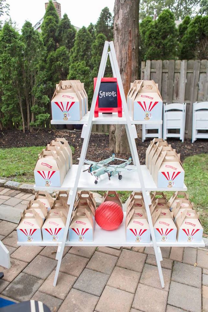 Gable favor boxes from a Vintage Hot Air Balloon Birthday Party on Kara's Party Ideas | KarasPartyIdeas.com (12)