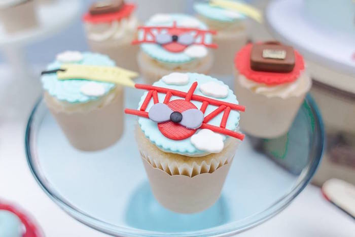 Cupcakes from a Vintage Hot Air Balloon Birthday Party on Kara's Party Ideas | KarasPartyIdeas.com (10)