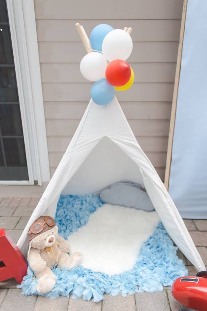 Aviator teepee lounge from a Vintage Hot Air Balloon Birthday Party on Kara's Party Ideas | KarasPartyIdeas.com (9)