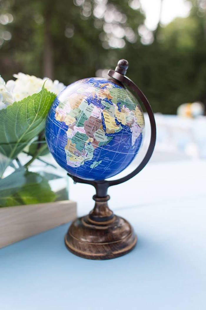 Globe decoration from a Vintage Hot Air Balloon Birthday Party on Kara's Party Ideas | KarasPartyIdeas.com (7)