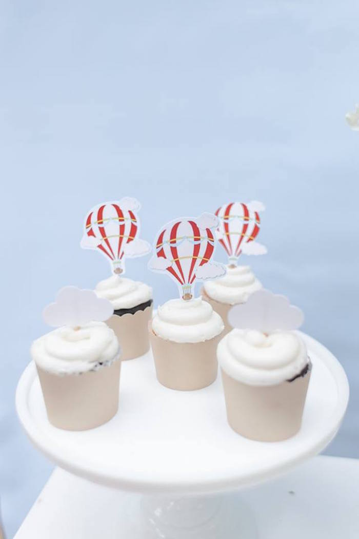 Hot Air Balloon Cupcakes from a Vintage Hot Air Balloon Birthday Party on Kara's Party Ideas | KarasPartyIdeas.com (5)