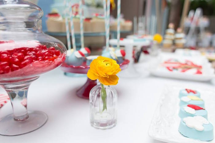 Bottle bloom centerpiece from a Vintage Hot Air Balloon Birthday Party on Kara's Party Ideas | KarasPartyIdeas.com (34)