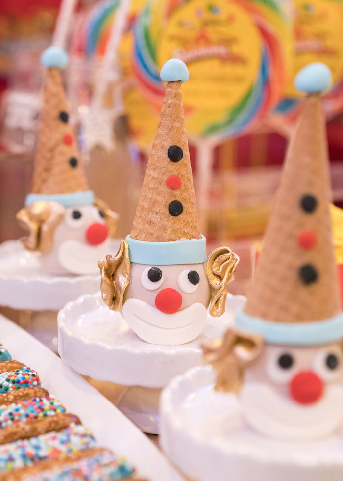 Clown cones from a Vintage Whimsical Circus Birthday Party on Kara's Party Ideas | KarasPartyIdeas.com (27)